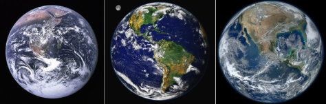 "The ""Blue Marble"" through the generations from left (1972, 2000, and 2012). (Images: NASA)"