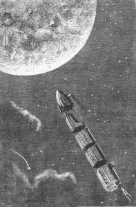 A rocket to the moon in an illustration from the 1874 edition of Jules Verne's From the Earth to the Moon turned out to be prophetic. (Image: Henri de Montaut/Public domain)